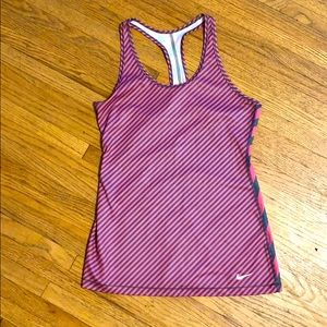 Pink and gray stripe Nike racer back tank